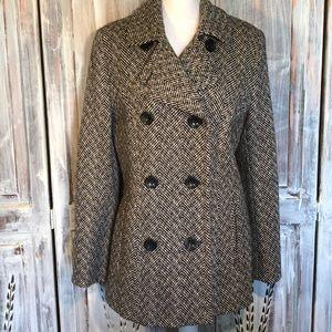 Anne Klein tweed wool blend pea coat.